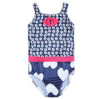 Wholesale 2016 New Polyester Girls Swimsuit One piece Royal blue Flower Cute Swimsuit