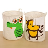 Wholesale Zakka Multifunction Animals Large Storage Laundry Hamper Basket Storage Bucket Receive Beam Barrels Toy Bin Cotton and linen