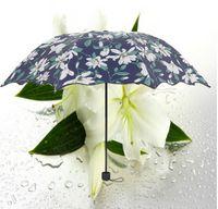 Wholesale Folding vinyl sunny umbrella greenish lily flower Lady Gril