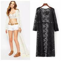 Wholesale Women Lace Floral White Long Maxi Dress Boho Autumn Cardigan Jacket Coat Kimono Kaftan Summer Dresses WT04