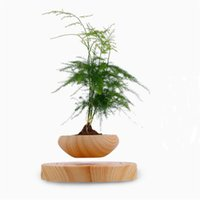 Wholesale 2016 Magnetic Suspension Flower Pots Mini Wooden Flower Plants Pots Floating Small Desktop Garden Pots in Home and Office