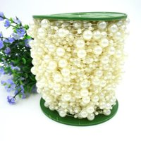 beaded wedding cakes - 75M Roll White Pearl Beads Chain String Strand DIY Craft Garland For Bouquet Party Wedding Bridal Flower Headdress Beaded Jewelry DHL Ship