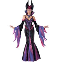 adult medieval costume - Adult Medieval Witch Dress Halloween Oversleeve Sexy Evil Queen Purple Costume Women Stage Cosplay Witch Costume Peculiar Dress