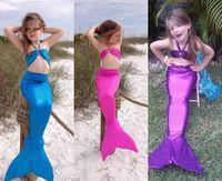 Wholesale 2016 Summer Lovely Girls Mermaid Tail Bikini Swimsuit Swimming Costume Cute Girl Bikini Set Swimwear Kids Performance Bathing Suits MC0036