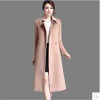 Wholesale High grade Wool coat Women Cashmere coat Mew style Pure color Lace up Soft Autumn Winter Fashion Woolen cloth coat BN1240
