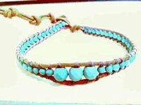 Wholesale Natural turquoise color leather rope cross section of pure hand made by European and American wind popular national wind hot style bracelet