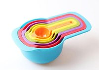 baking cup measurement - 6PCS Plastic Rainbow Color Kitchen Measuring Cup Set Tables Spoon Set Kitchen Baking Measurement Tools With Scale For Baking