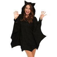 bat wing hoodie - Halloween Women Costume Black Bat Fancy Sexy Ladies Cosplay Costumes with Hoodie and Wings Autumn Winter High Quality
