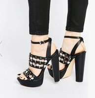 Cheap Chunky Heel Sandals Punk  Free Shipping Chunky Heel Sandals