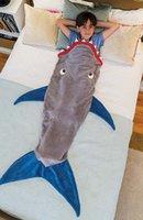 al por mayor manta-Los niños de la sirena del saco de dormir de lana tiburón Crystal sacos de reposo en caliente cola de sirena mantas polar Mantas suaves