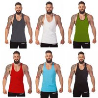 gym vest - 50 pc Fitness Men Blank Stringer Cotton Tank Top Singlet Bodybuilding Sport Undershirt Clothes Gym Vest Muscle Singlet
