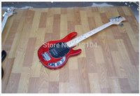 Wholesale and retail new strings electric bass guitar in red with chrome hardware foam box F