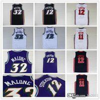 basketball john - John Stockton Karl Malone Throwback Basketball Jersey Top Quality Stitched Men s Basketball Jersey Purple Black White