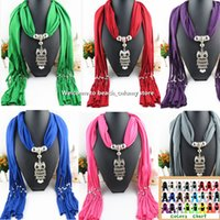Wholesale Fashion owl Pendant Scarves Winter Warm Women Scarf Pendant Scarf With Tassel Rhinestone Jewelry Necklace Scarves colors DHL free ship