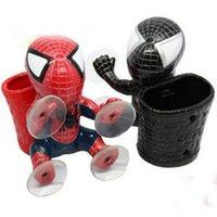 Wholesale Automobile decorative basket barrel with spider man vehicle vehicle glove box cartoon doll sucker