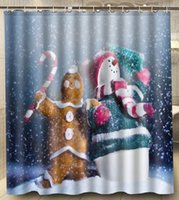 bath cookies - Snowman Candy Cookies Holiday Polyester Big Size x180cm Square Custom Shower Curtain Bath Curtain