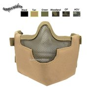 Wholesale Outdoor Shooting Sports Face Protection Gear V8 Metal Steel Wire Mesh Half Face Tactical Airsoft Mask Style B