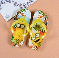 baby house shoes - Kids Cartoon Minions Slippers Spiderman Frozen Flip Flops Boy Girls Sandals Shoes Baby Beach House Slippers Style LJJQ318