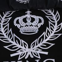 adult king crowns - 100 cotton modern black and white crown bedding set bed linen grey bed sheet set hotel duvet cover set