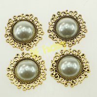 Wholesale ZK060 cm flat back pearl sticker for invitation cards alloy rhinestone decoration for wedding