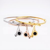 bell bangles - Roman Letter two sided Shell Pendant With Bells Female Bracelets Bangles Fashion Jewelry Design Women Stainless Steel Bracelet