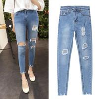 Wholesale 2016 New Fashion Summer Style Women Jeans ripped Holes Harem Pants Jeans Slim vintage boyfriend jeans for women