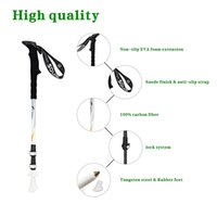 Wholesale SOUS Pair of LOHAS Carbon Fiber Lightweight Hiking Sticks Walking Poles Trekking Pole with Quick Lock Extending Adjustable