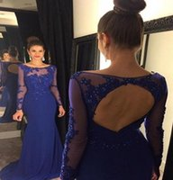 Reference Images arabic dress designs - Arabic Royal Blue Illusion Long Sleeves Lace Applique Beaded Mermaid Prom Dresses New Design Scoop Sexy Backless Evening Gowns BA2150