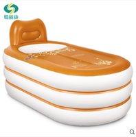 Wholesale Size cm With Pump Insurgents Thickening Inflatable Bathtub Folding Tub Bath Basin Plastic Bath Bucket