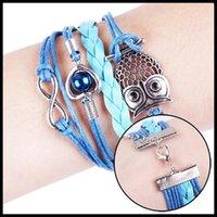 achat en gros de bijoux faits main nouveau style-Mode New Style Owl tressées main Lovey Charm Bangles Bijoux Bleu Rose 2 couleurs Drop Shipping BL-0089