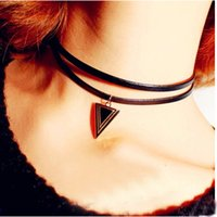 Wholesale punk short leather necklace double layers necklaces black triangle chocker necklace for women fashion jewelry
