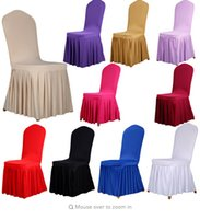 Wholesale Hot Chairs Covers For Home Dinner Wedding Party Restaurant Hotel Christmas Home Decors Spandex Stretch Multi Colors Peplum Best price