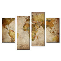 Cheap Amosi Art-4 Pieces Canvas Prints Wall Art Decor Large Retro Antiquated Map of World Abstract Painting Pictures for Home Decor(Wooden Framed)