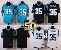 Wholesale Factory Outlet Carolina Pants Mike Tolbert Men Womens Kids Blank White Blue Black with Super Bowl Patch Jerseys