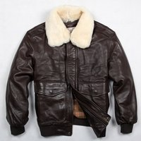 air wool coat - Avirex fly air force flight jacket fur collar genuine leather jacket men winter dark brown sheepskin coat pilot bomber jacket