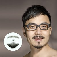Wholesale New set human hair false beard simulation TV show film props fake mustache beauty tools shinning star design