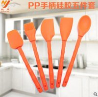 Wholesale 5pcs set Silicone Kitchen Tools Bakeware Silicone Kitchen Cooking Set Pastry Brush Spatula Shovel Spoon Silicone Knives Sets