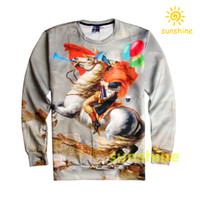 bargain fashion - 2016 August new arrival D print Napoleon on horse hoodies Unisex womens mens cool sweatshirts sizes inc bargain price