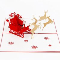 Wholesale 3D pop up Krigami Origami Gift Present card Merry Christmas postcard greeting cards vintage Flying Santa Ride