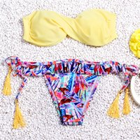 Wholesale Fashion Prints Two Piece Swimsuit Swimsuit And Gather Outdoor Apparel Bikini Female Steel Support Thin Slim Yelllow