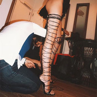 aa peep toe - Sexy Black Cut Out Gladiator Over The Knee High Heels Women Sandals Boots Zapatos Mujer New Lace Up Women Thigh High Boots