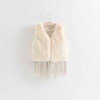 Wholesale Winter Baby Fur Vest Sleeveless Waistcoat Leather Tassle Fashion Thick Warm Children Girls Outwear European Styles Kids Jacket Brown White