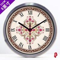 baroque wall clock - Continental Retro Red living room decorative pattern of Baroque clock quartz clock wall clock