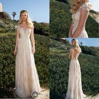 aline wedding dresses - Champagne Backless Off The SHoudler WEDDING Dresses ALine Appliques Floor Length Stunning Sequins Garden Wedding Gowns Bridal Dresses
