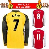 arsenal long sleeve away soccer - 2017 Long Sleeve Football Jersey Arsenal Long Sleeve Soccer Jerseys Ozil Alexis Ramsey Home Red Away Yellow Football Shirts