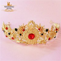 10k gold jewelry - Vintage Designer Wedding Bridal Gold Flower Red Crystal Rhinestone Diamond Princess Hair Accessories Headband Crown Tiara Headpieces Jewelry
