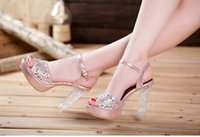 Wholesale Summer new luxury unreal colour crystal diamond thick with waterproof high heeled sandals