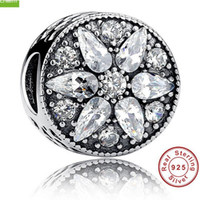 Wholesale Real Sterling Silver Clear Rhinestone Round Flower Charm Fit European Bracelet Authentic Luxury DIY Jewelry Gift