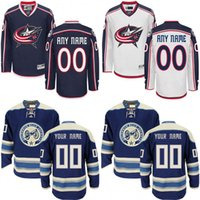 authentic jackets - Customized Men s Columbus Blue Jackets Custom Any Name Any Number Ice Hockey Jersey Authentic Jersey Embroidery Logos size S XL