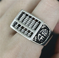 abacus china - 2pcs Newest Design Chinese Abacus Ring L Stainless Steel Fast Shipping Band Party Lucky Abacus Ring